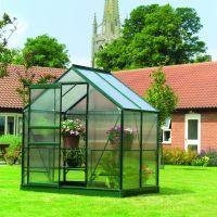 Aluminium greenhouse with plastic windows