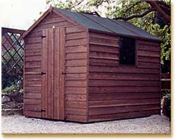 8x6 foot Apex Shed made of wood with a felt roof.