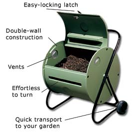 Manufactured compost tumbler