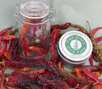 Dried chilli peppers can be stored in a sealed jar for over a year