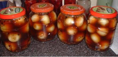 Jars of homemade pickled onions