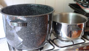 Large saucepan for nettle beer making