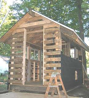 Pallet Shed in construction.