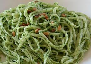 Wild garlic pesto with linguini and pine nuts